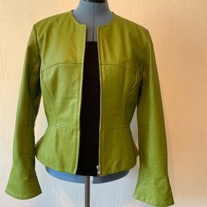 SHAPE FX Women's Leather Light Green Fitted Jacket